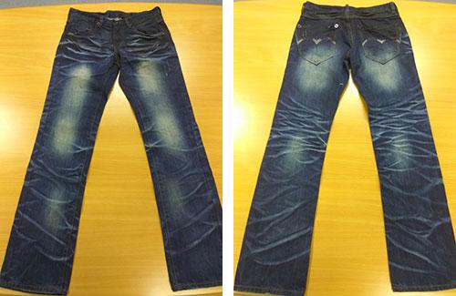 添加喷涂效果的牛仔裤。