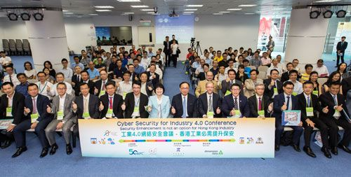 Group photo of Mr Nicholas Yang, Secretary for Innovation and Technology of the HKSAR Government (front row, seven from right), and Mrs Agnes Mak, Executive Director of HKPC (front row, eight from right), with the speakers, industry sponsor representatives and delegates of the Conference on Cyber Security for Industry 4.0