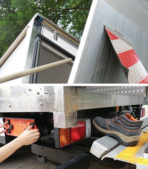 當系統監測到有物件進入危險範圍,尾板會立即停止運作,防止夾傷操作人員。