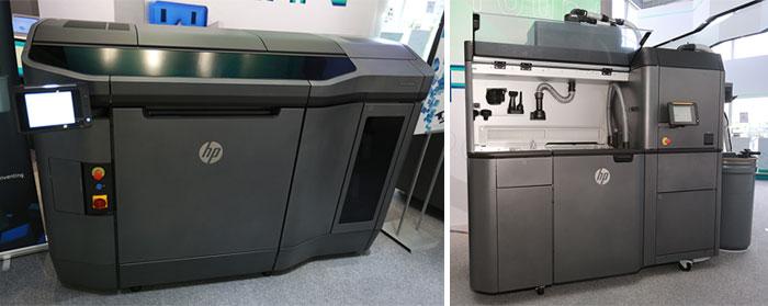 生產力局與寶力機械合作引入全港首部射流熔融3D打印設備,包括3D打印機(左)及工件處理站(右)