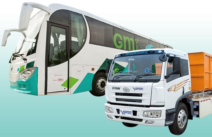 本地綠色運輸研發突破成果 混合動力12米客車 純電動16噸勾斗車