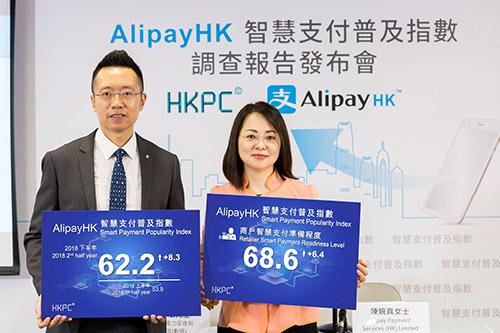 香港生產力促進局副總裁(數碼)黎少斌先生(左)與Alipay Payment Services (HK) Limited行政總裁陳婉真女士公布2018年下半年「AlipayHK智慧支付普及指數」調查結果,普及指數為62.2 (最高100),較半年前首次發布的指數上升8.3,當中商戶與用戶的接受程度皆有所提升。