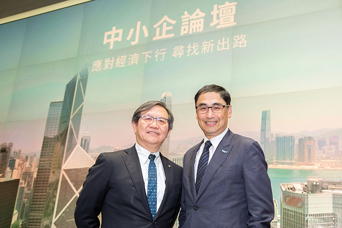 HKPC Chairman Mr Willy Lin (left) and Executive Director Mr Mohamed Butt attended the SME Symposium organised by the Commerce and Economic Development Bureau of the HKSAR Government. As a guest speaker at the event, the former revealed that HKPC would be holding the inaugural SME One Fund Fair on 16 and 17 September to help businesses identify funding schemes best fit their needs.