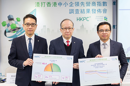 Mr Gordon Lo, Director (Business Management) of HKPC (Center), Mr Kelvin Lau, Senior Economist, Greater China, Standard Chartered Bank (Hong Kong) Limited (Right) and Mr Jimmy Chim, Senior Consultant (Industry Development) of HKPC (Left), announced the first quarter result of the