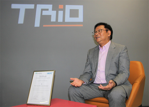 """""""Implementation of i4.0 enables us to become a genuine companion, not an onlooker, for our smart future"""".  – Mr LAI Yiu-wah, Chairman and Executive Director of Trio Industrial Electronics Group Limited"""