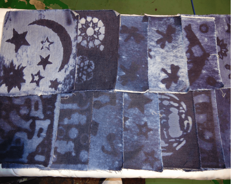 Pattern made on denim fabric with Ozone Spray Finishing System