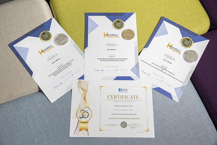 HKPC's inventions clinch a number of prestigious awards in the 2nd Asia Exhibition of Inventions Hong Kong, including the Decentralised Food Waste Recycling Station (Gold Medal and IFIA Best Invention Award), the MiniMover (Silver Medal), and the Defect Recognition Support System for Aviation Industry (Silver Medal).