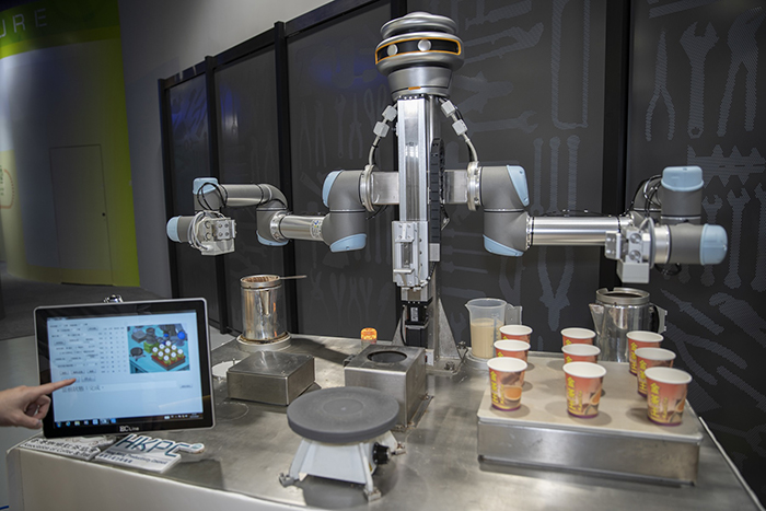 """""""KamChAI"""", the Hong Kong-style milk tea making robot, wins the Equipment and Machinery Design Certificate of Merit in the 2019 Hong Kong Awards for Industries."""