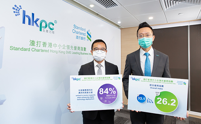 Mr Edmond Lai, Chief Digital Officer of HKPC (Right); and Mr Kelvin Lau, Senior Economist, Greater China, Standard Chartered Bank (Hong Kong) Limited (Left), announced the Overall Index decreased by 6.9 points from last quarter's 33.1 to 26.2 of the