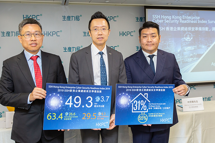 """Mr Edmond Lai, Chief Digital Officer (Centre); Mr Leung Siu-Cheong, Senior Consultant, Digital Transformation Division of HKPC (Left); and Mr Ricky Ho, Vice President, APAC of SSH Communications Security, present the results of """"SSH Hong Kong Enterprise Cyber Security Readiness Index Survey 2019""""."""