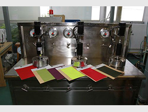 Lab dips of supercritical fluid waterless dyeing system