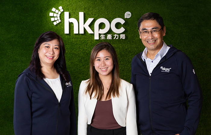 "Mr Mohamed Butt, Executive Director of HKPC (right) unveiled HKPC's initiative to launch the first-ever ""2020 Winter Internship"" in December, providing hands-on experience and learning opportunities for local and overseas tertiary students, also helping them crave their future career path, and Ms Eliza Ng, Chief People and Culture Officer of HKPC (left) said HKPC's internship programme enables interns to obtain distinctive hands-on experience and opportunity for practicing, giving into full play their capabilities and putting into practice of what have been learnt. (Centre is Miss Natalie Poon, an intern of HKPC's ""2020 Summer Internship"" currently studying Biotechnology and Physiology at the University of Toronto in Canada.)"