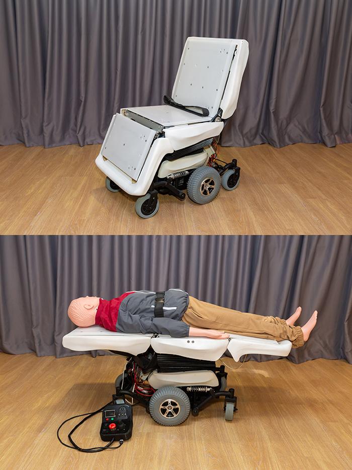 生產力局向業界展示「HORIZON 智能過床機械人」的設計概念。此研發可自動伸展成平躺的床,讓體弱長者能輕鬆過床,改善了現時需要2至3名職員抱扶的狀況。
